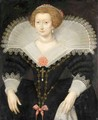 A Portrait Of A Lady, Three-Quarter Length, Wearing A Black Dress And White Lace Collar - (after) Frans, The Elder Pourbus