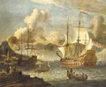 A Mediterranean Port Scene With Two Dutch Vessels At Anchor - (after) Abraham Storck