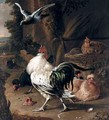 A Farmyard Scene With A Cockerel, Hens, A Pigeon And A Turkey - (after) Melchior De Hondecoeter