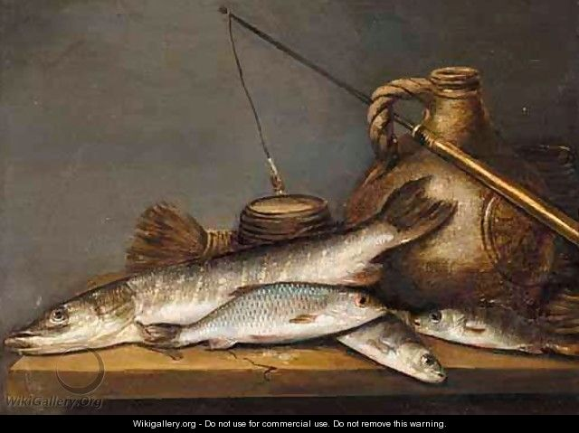 A Still Life With A Pike And A Perch Together With A Stoneware Jug And A Fishing Line On A Table - (after) Pieter De Putter