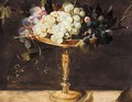 A Still Life With Grapes In A Bronze Cup, On A Stone Ledge - (after) Frans Snyders