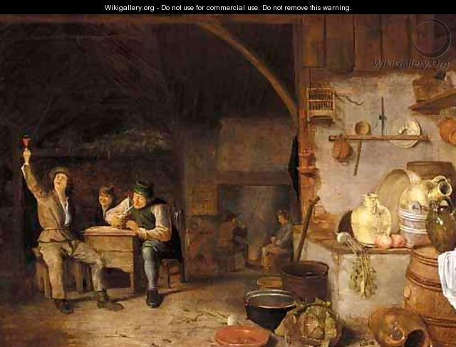 A Barn Interior With Boors Smoking And Drinking - Dutch School