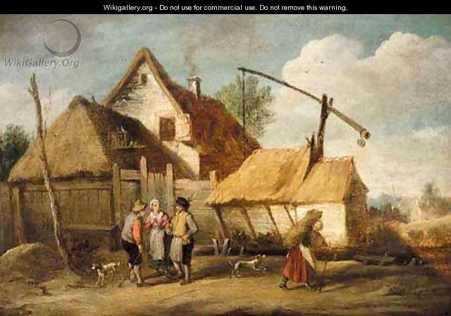 A Landscape With Boors Outside A Cottage - (after) David The Younger Teniers