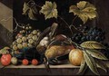 Still Life With Grapes, Plums, Cherries And Songbirds - Cornelis De Bryer