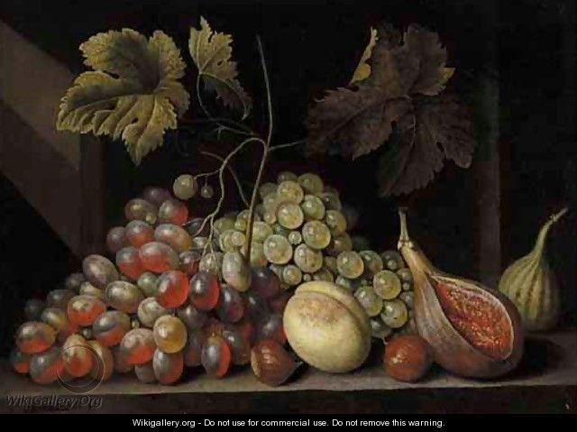A Still Life With Grapes, Figs, Walnuts And An Apricot, Together On A Stone Ledge - Cornelis De Bryer