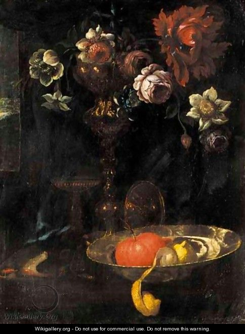 A Still Life Of A Peeled Lemon, An Orange, And Flowers In A Silver Gilt Cup Together On A Table - (after) Willem Kalf