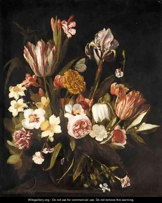 A Still Life Of Tulips, Roses, Irises, Carnations And Various Other Flowers Together In A Glass Vase On A Ledge - Jan Philip van Thielen