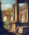 An Architectural Capriccio With Figures Amongst Ruins - (after) Andrea Locatelli