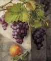 A Still Life With Grapes On A Vine And A Peach On A Stone Ledge - Christine Marie Lovmand