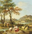 An Italianate Landscape With Figures Washing In A River - Giovanni Battista Tiepolo