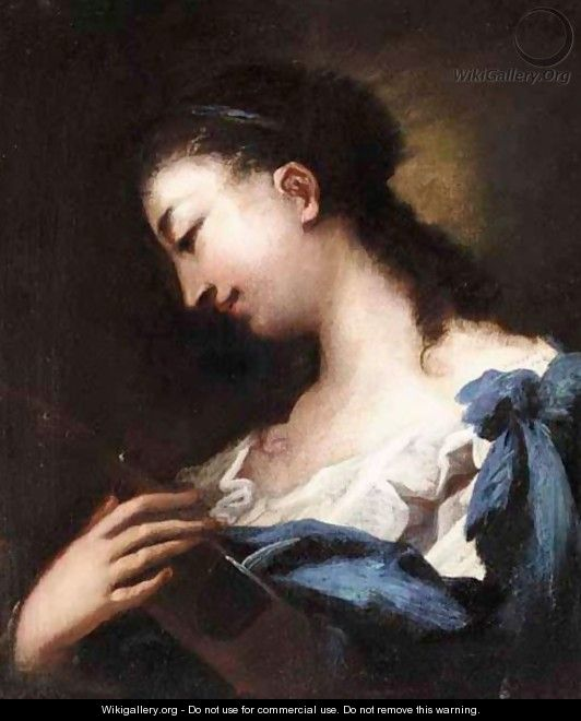 A Portait Of A Woman, Bust Length, Holding A Violin - (after) Giovanni Antonio Guardi