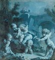 A Landscape With Putti At Play - (after) Francois Boucher