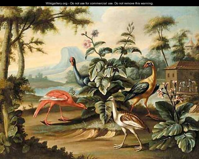 Exotic Birds In An Extensive Landscape With A Watermill - French School