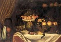 A Still Life Of A Basket Of Fruit, A Glass, A Gold Tazza, Arranged Upon A Table, With A Black Servant Girl - Italian School