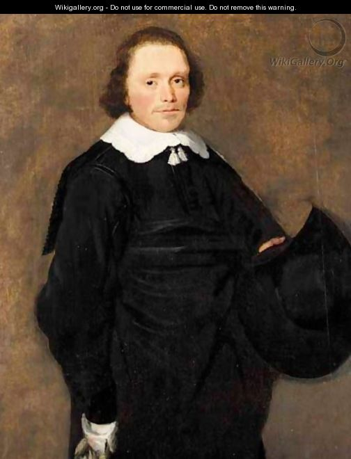 A Portrait Of A Gentleman, Three-Quarter Length, Wearing Black With A White Ruff, Holding A Hat - Haarlem School