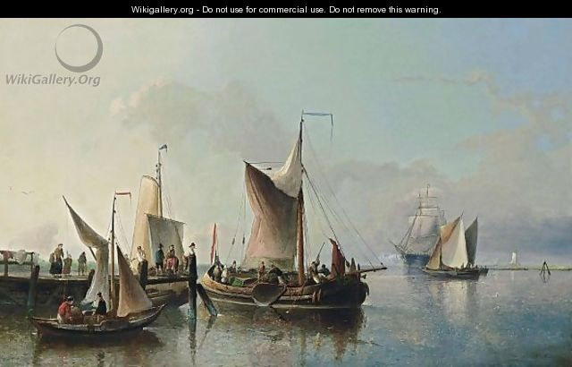 Fishing Boats Off A Jetty - Nicolaas Riegen