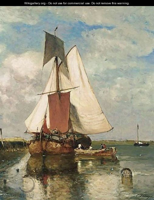 A Fishing Boat In An Estuary - Paul-Jean Clays