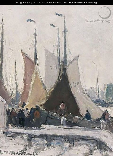 Volendam Harbour In The Snow - Gerhard Arij Ludwig Morgenstje Munthe