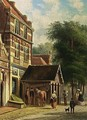 Figures In A Dutch Town - Johannes Franciscus Spohler