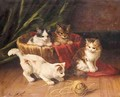Kittens Playing - Alphonse de Neuville