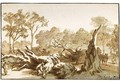 Riders And Figures By A Fallen Tree In The 'Haagse Bos' - Jan de Bisschop