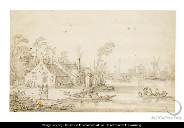 River Landscape With Boats By Cottages, And A Mill Behind - Esaias Van De Velde