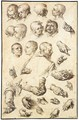 Sheet Of Studies Of Heads, Arms, Hands And A Youth Seen From Behind - Jacques de Gheyn