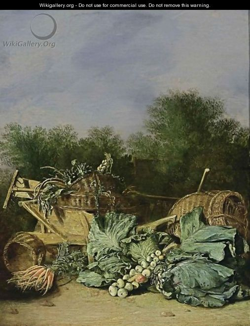 A Still Life With Carrots, Cabbage And Onions Together With Artichokes, Parsley, And Onions In Baskets On A Wheelbarrow With A Rake And A Spade, All In A Landscape Setting - Haarlem School