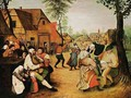 A Village Scene With Peasants Dancing Outside An Inn - (after) Pieter The Younger Brueghel