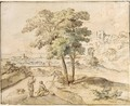 An Arcadian Landscape With Figures Conversing Under A Tree - (after) Huysum, Jan van