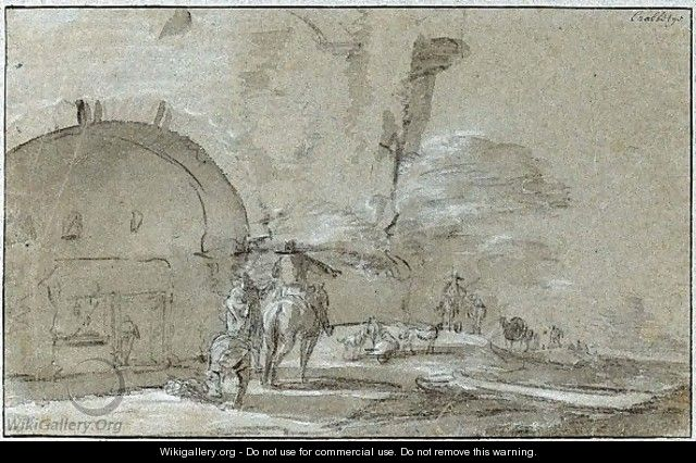 A Rider, With Other Figures And Dogs On A Path By An Arched Entrance - Jan Asselijn