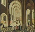 A Church Interior With Figures Attending Mass, And A Priest And Other Figures Conversing In The Foreground - (after) Pieter The Younger Neefs