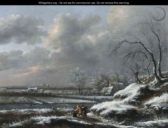 A Winter Landscape With A Man Pushing A Sledge In The Foreground, A View Of Haarlem With The Cathedral Of St. Bavo Beyond - Claes Molenaar (see Molenaer)