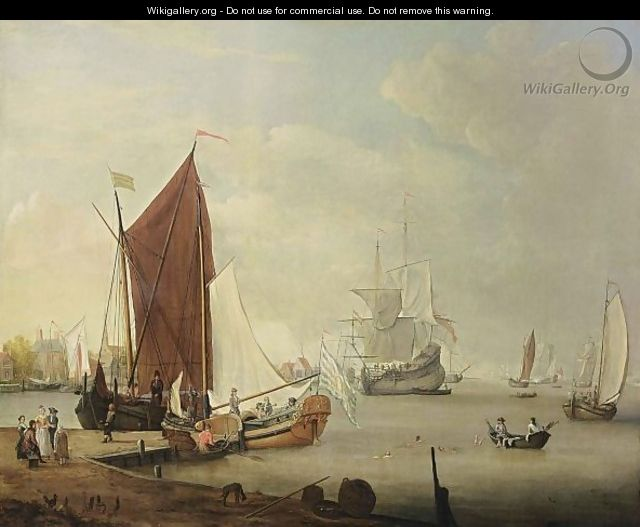 A Dutch Harbour Scene With A Smalschip, A Yacht, A Boeier, A Cargo Vessel, Rowing Boats And Other Vessels, Together With Figures Swimming And An Elegant Company On The Shore Near A Village - Dutch School