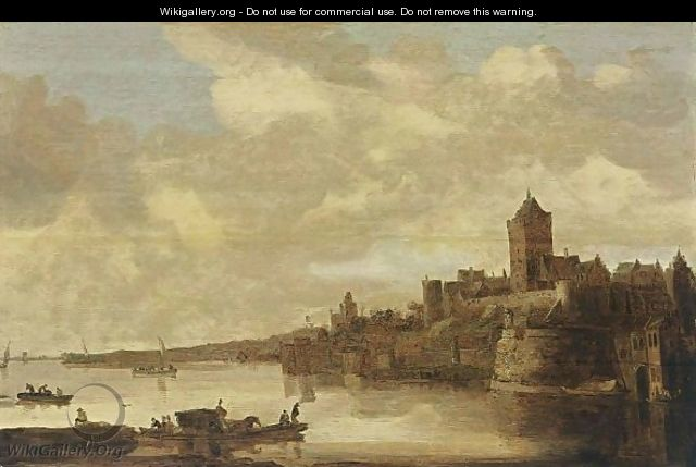 Nijmegen A View Of The Valkhof Seen From Across The River Rhine, With A Ferry In The Foreground - (after) Jan Van Goyen