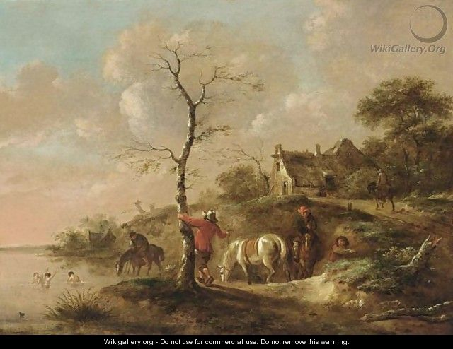 A Wooded Landscape With Travellers Watering Their Horses Near A River, Figures Swimming And A Horseman On A Path Near A Farm - Claes Molenaar (see Molenaer)