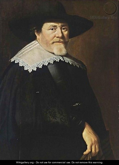 A Portrait Of A Bearded Gentleman, Half Length, Wearing A Black Suit, A Black Hat And A White Lace Collar, Holding Gloves In His Right Hand - Claes Cornelisz Moeyaert