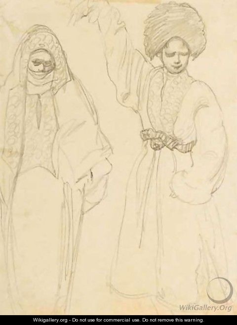 Study Of A Veiled Woman And A Dancing Boy - Lev Samoilovich Bakst