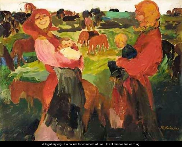 Peasant Women In The Field - Philip Andreevich Maliavin