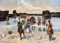 Caucasian Warriors Crossing The River - Franz Roubaud
