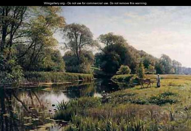 Grazing By A River - Peder Monsted
