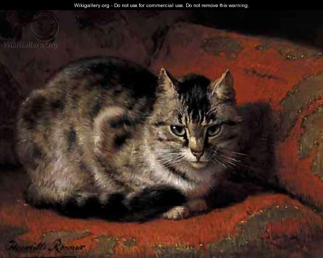 Tabby On A Red Settee - Henriette Ronner-Knip