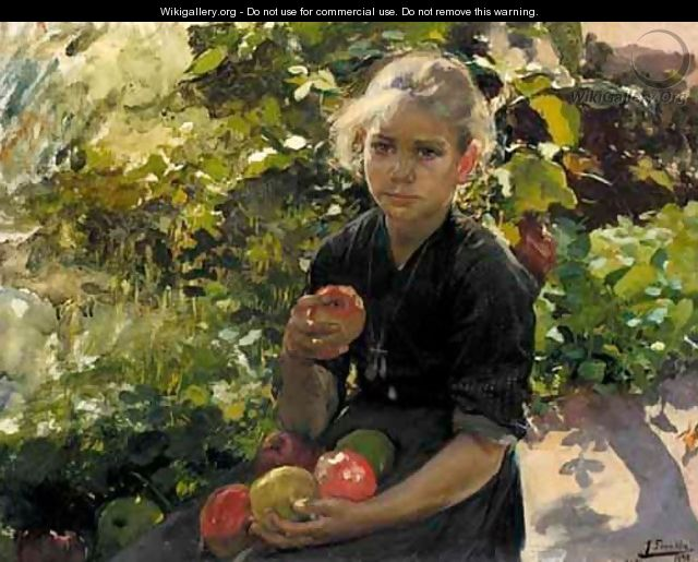 Nina Comiendo Manzanas (Young Girl Eating Apples) - Joaquin Sorolla y Bastida