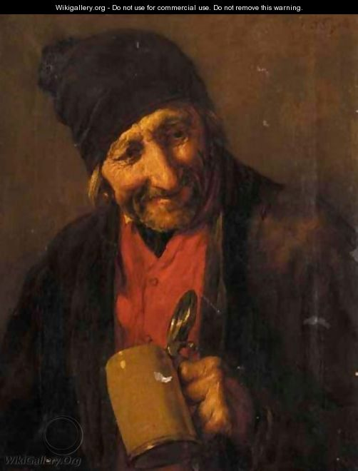 Portrait Of An Old Man Drinking - Nicholas Gysis