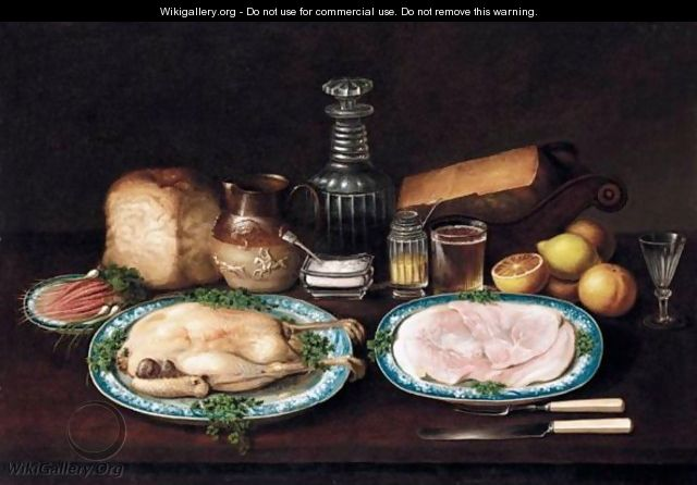 A Still Life Of Meat, Fruit And Vegetables On A Table - (after) George, Of Chichester Smith
