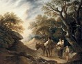 A Wood Gatherer And His Family Loading A Donkey In An Extensive Landscape - Thomas Barker of Bath