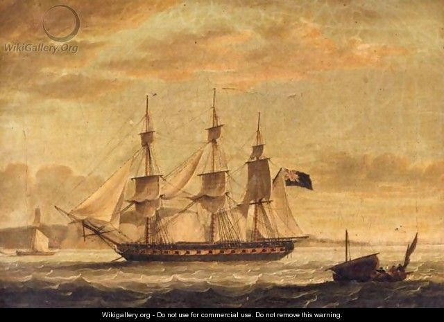 An English Man Of War Off The Coast Of Dover - (after) John Thomas Serres