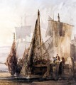 Boats Moored At A Dock - William Callow