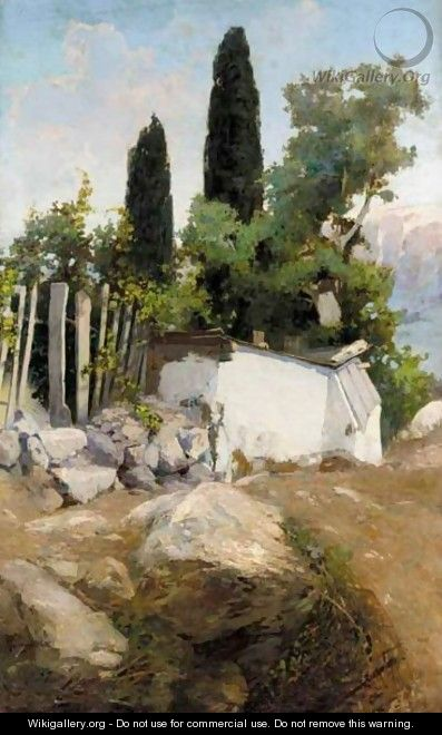 Landscape With Well And Cypress Trees - Vasily Polenov