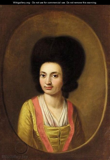 A Portrait Of A Lady, Half Length, Wearing A Yellow Dress - Spanish School